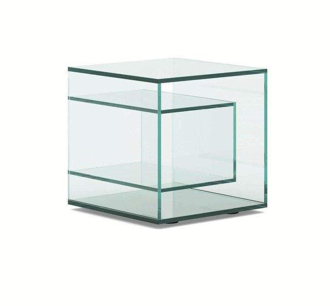 Square glass bedside table LIBER E by Tonelli Design
