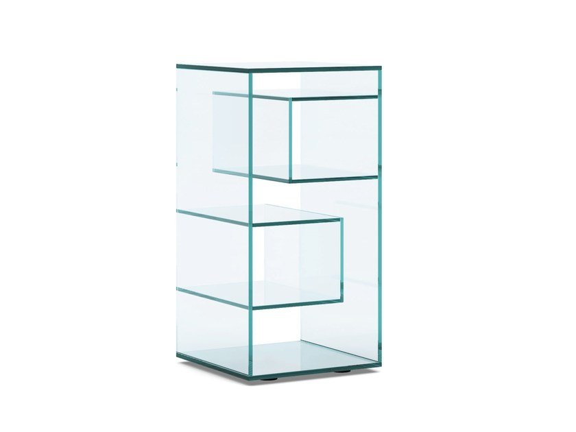 Open freestanding double-sided crystal bookcase LIBER D by Tonelli Design