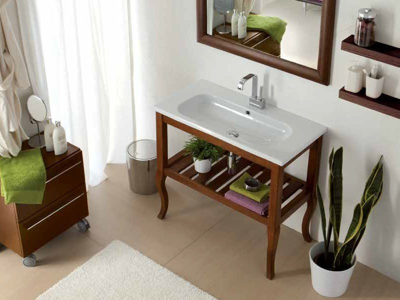 Solid wood console sink OVAL | Solid wood console sink by Mastro Fiore