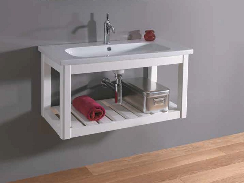 Wall-mounted solid wood vanity unit OVAL   Wall-mounted vanity unit by Mastro Fiore