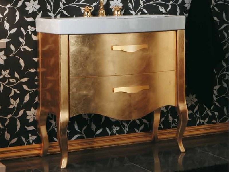 Gold leaf vanity unit with drawers with mirror ZEUS | Gold leaf vanity unit by Mastro Fiore