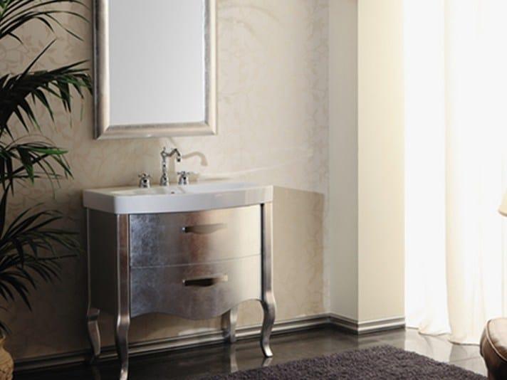 Silver leaf vanity unit with mirror ZEUS | Silver leaf vanity unit by Mastro Fiore