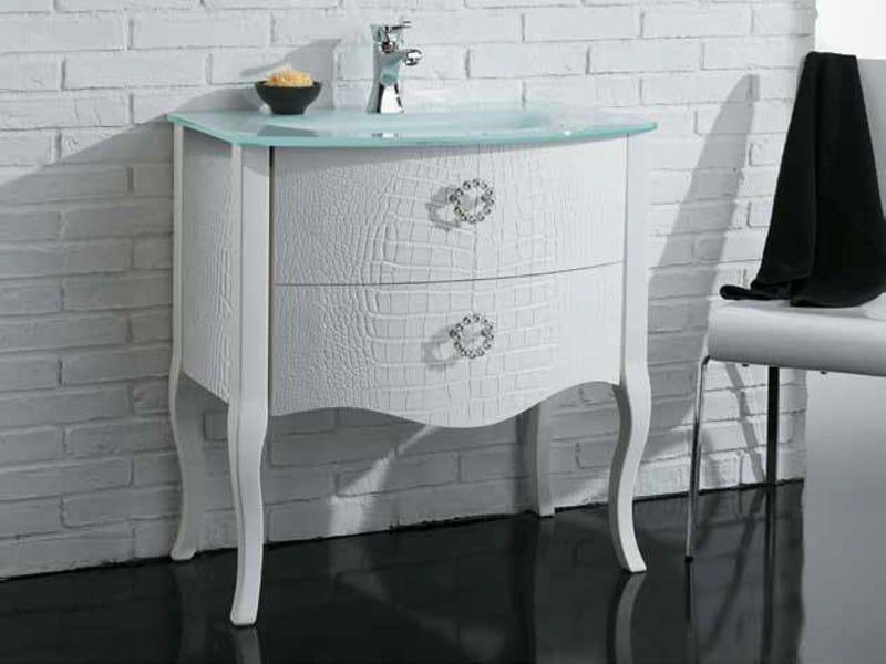 Leather vanity unit with drawers ZEUS COCCODRILLO by Mastro Fiore