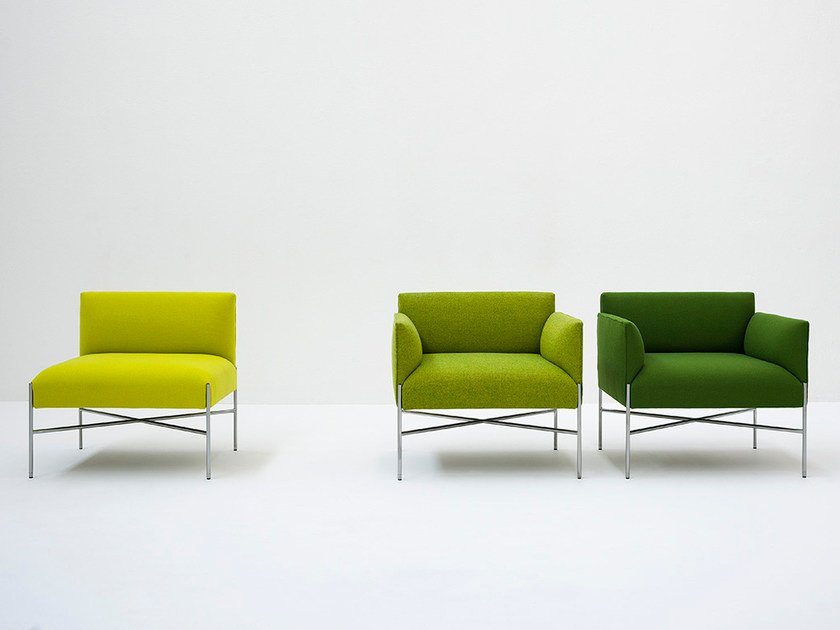 Upholstered fabric armchair with armrests CHILL-OUT | Armchair with armrests by Tacchini