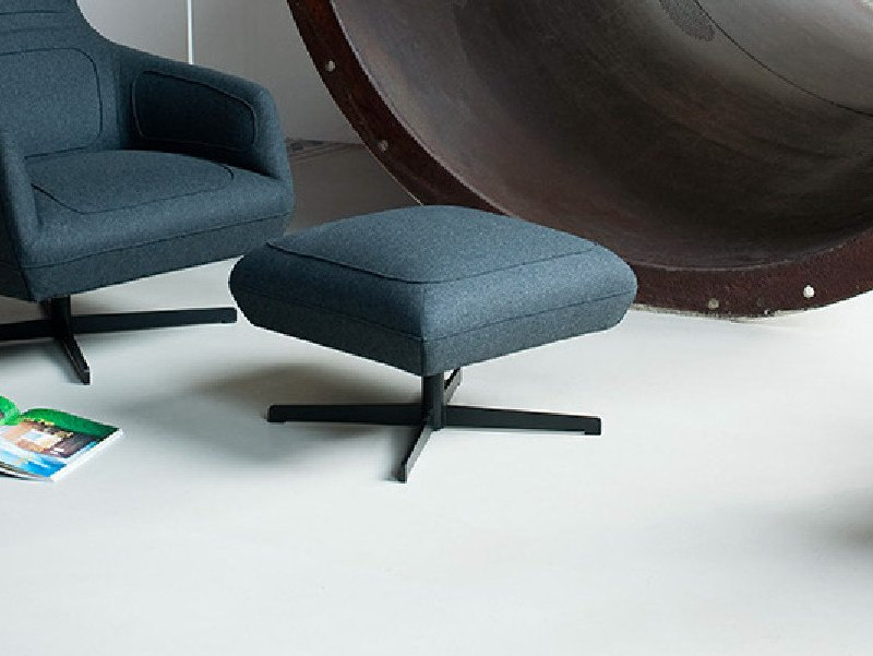 Fabric footstool with 4-spoke base DRESSED   Footstool by Tacchini
