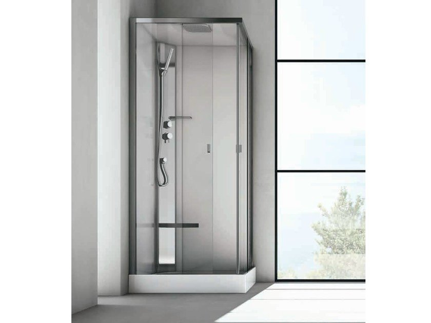 Corner multifunction crystal and stainless steel shower cabin SOUND by Gruppo Geromin