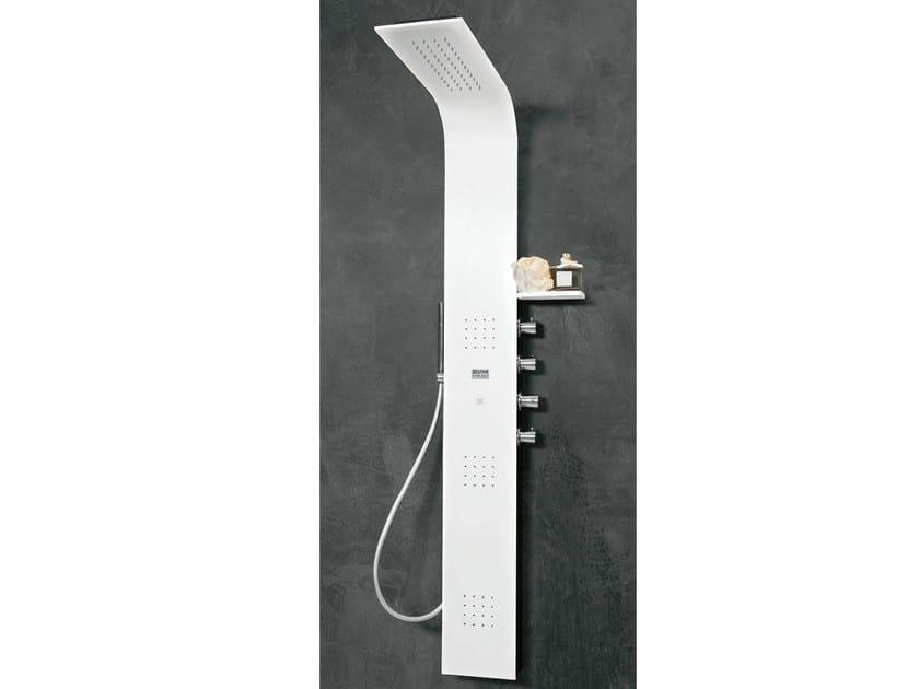 Wall-mounted Corian® shower panel LAMA by Gruppo Geromin