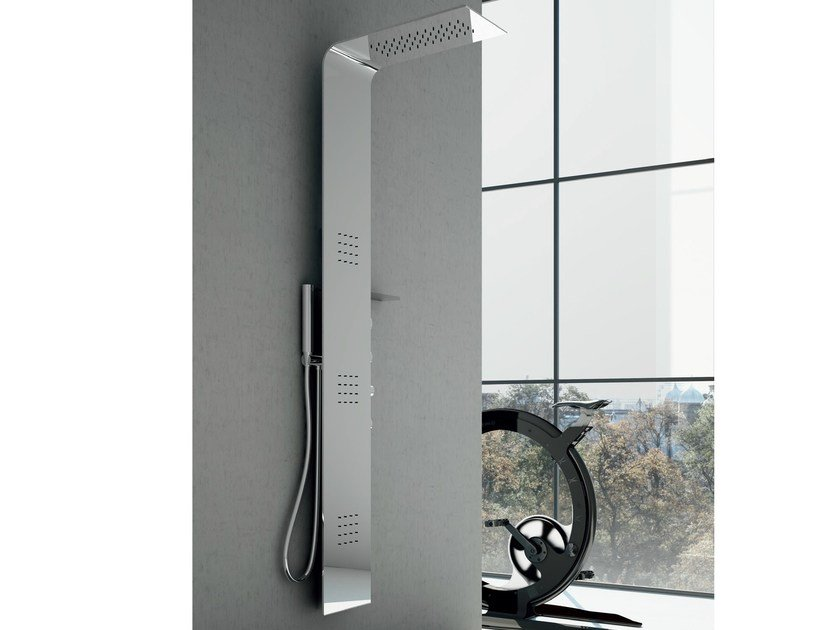 Wall-mounted thermostatic steel shower panel with overhead shower Steel LAMA by Gruppo Geromin