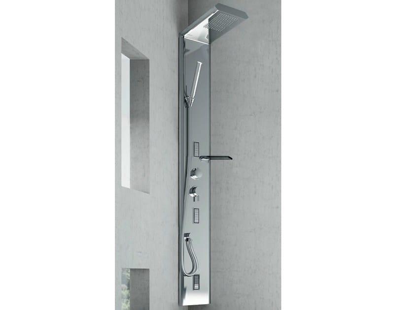 Colonna doccia a parete termostatica con soffione lama fibra di