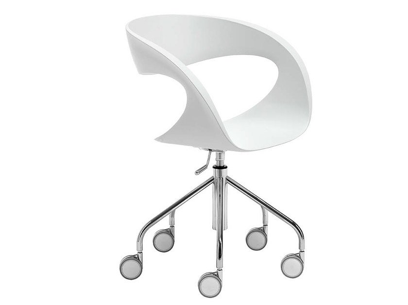Trestle-based chair with casters RAFF   Chair with casters by Midj
