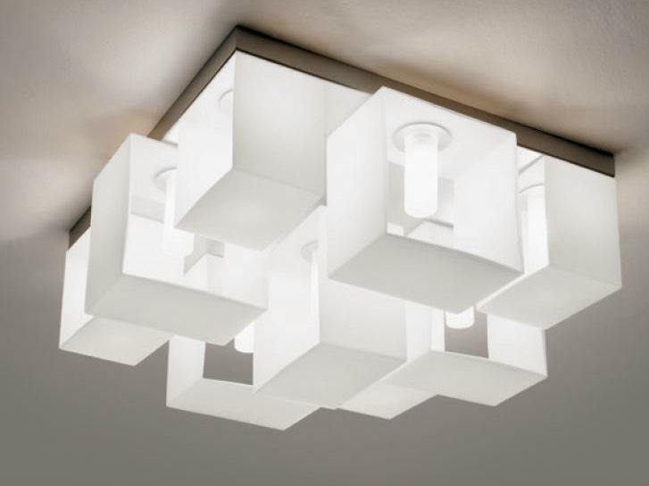 Blown glass ceiling lamp DOMINO | Ceiling lamp by PANZERI