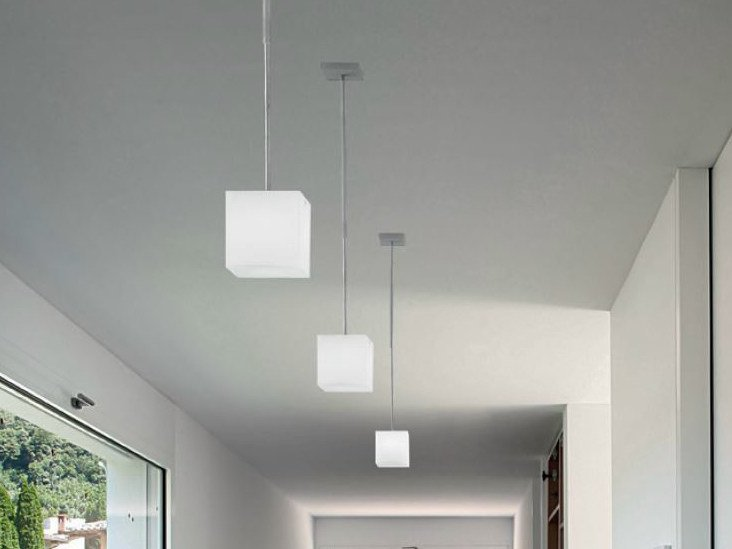 Blown glass pendant lamp KUBIK | Pendant lamp by PANZERI