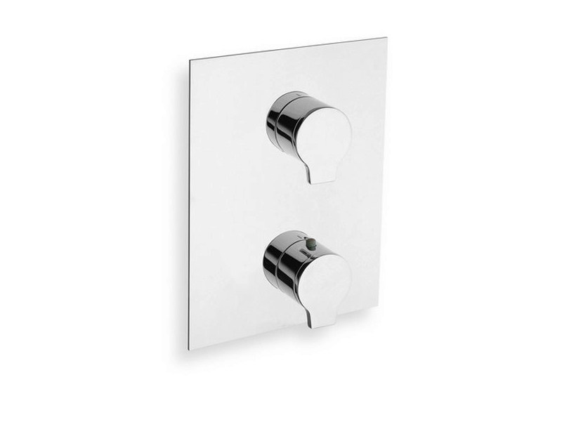 Chrome-plated thermostatic shower mixer with plate DIARIO | Chrome-plated thermostatic shower mixer by CRISTINA