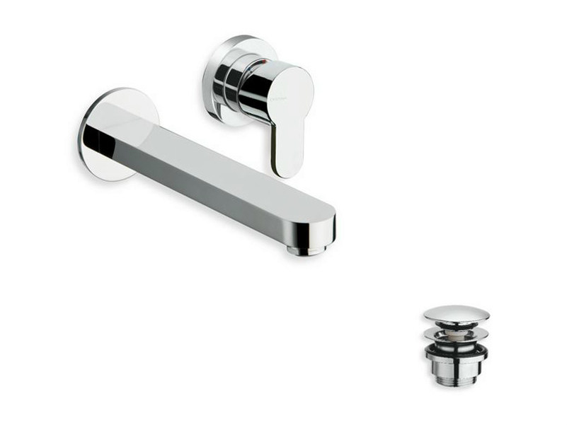 Wall-mounted chrome-plated washbasin mixer ROUND | Wall-mounted washbasin mixer by CRISTINA