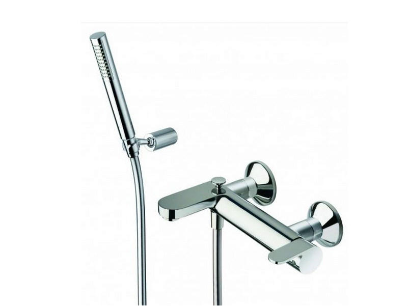 Wall-mounted bathtub mixer with hand shower ROUND   Bathtub mixer with hand shower by CRISTINA