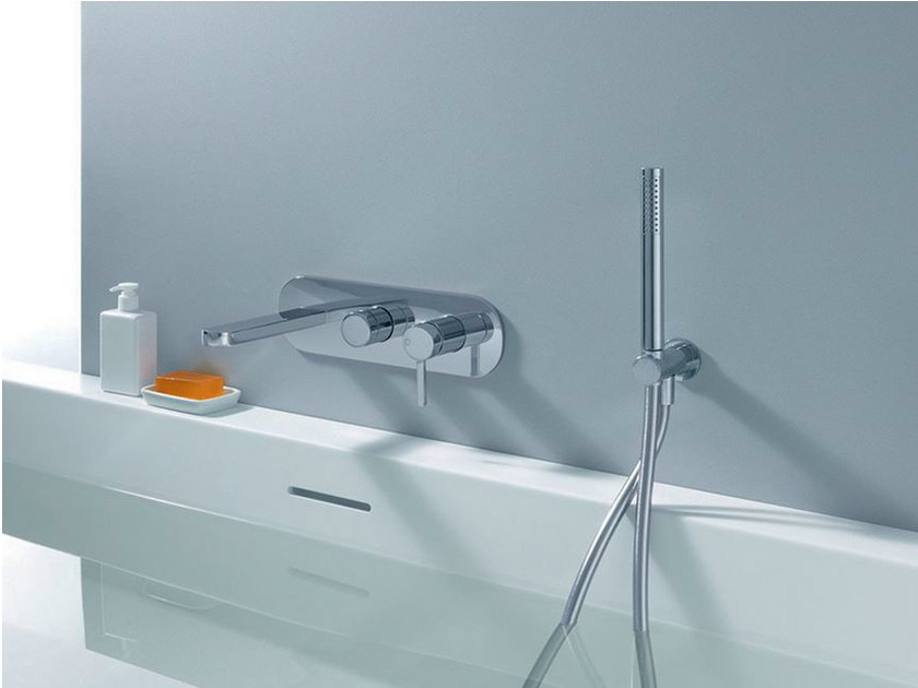 Wall-mounted bathtub mixer with hand shower UNI/C | Bathtub mixer by CRISTINA