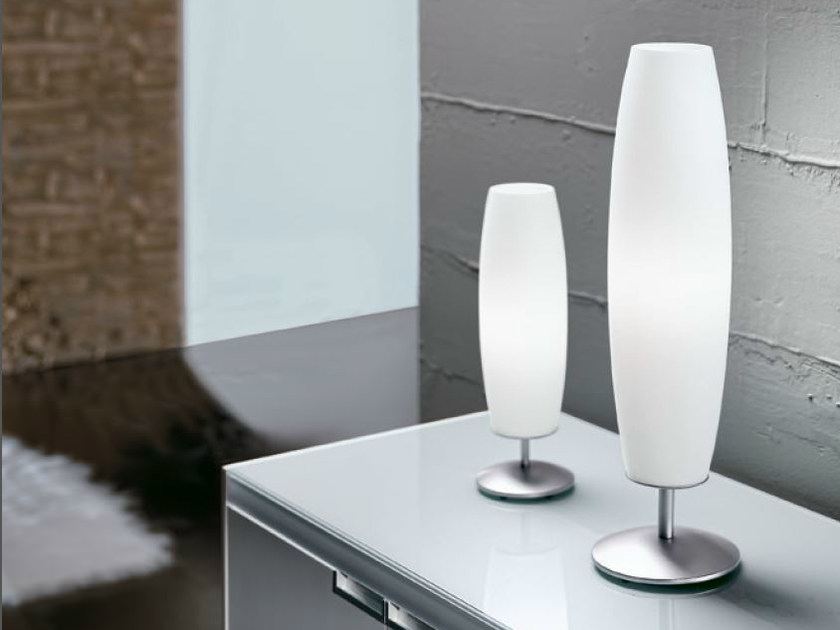Direct light satin glass table lamp ZENITH by PANZERI