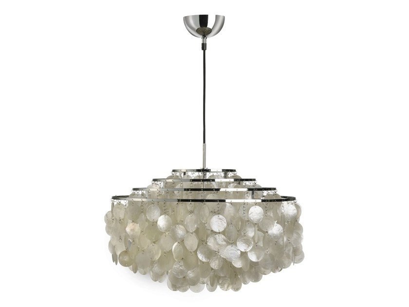 Direct-indirect light mother of pearl pendant lamp FUN 10 DM by Verpan