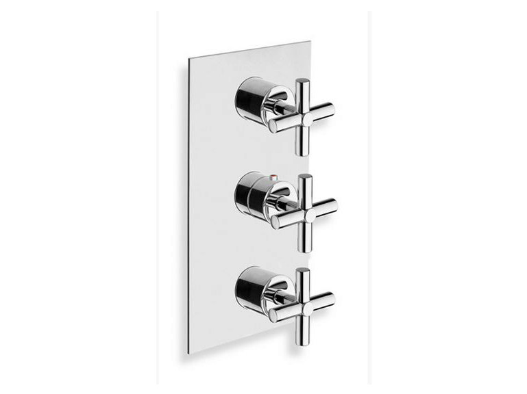 Chrome-plated thermostatic shower mixer EXCLUSIVE | Thermostatic shower mixer with plate by CRISTINA