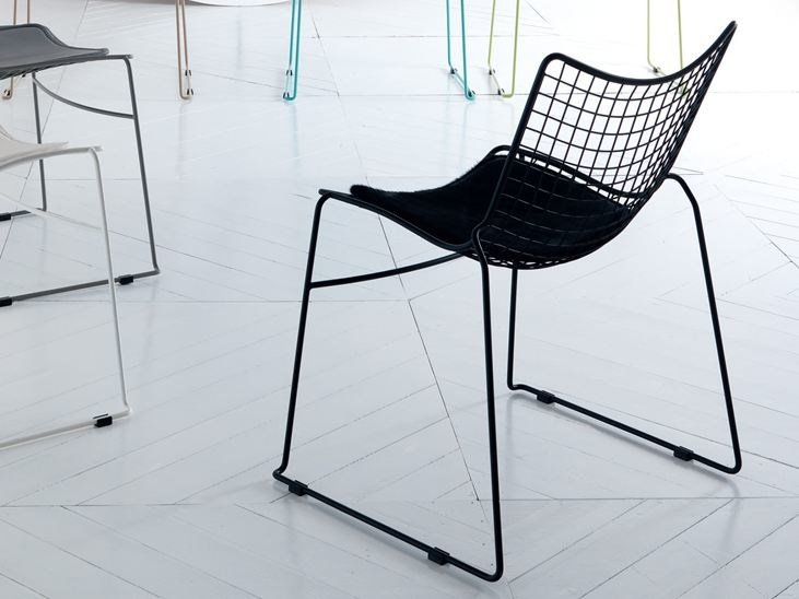 Sled base stackable steel chair STITCH   Chair by Esedra