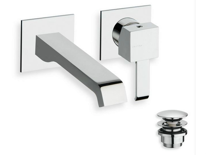 Wall-mounted single handle washbasin mixer QUADRI | Wall-mounted washbasin mixer by CRISTINA