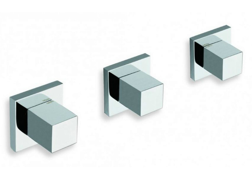 3 hole wall-mounted chrome-plated bathtub tap QUADRI | 3 hole bathtub tap by CRISTINA