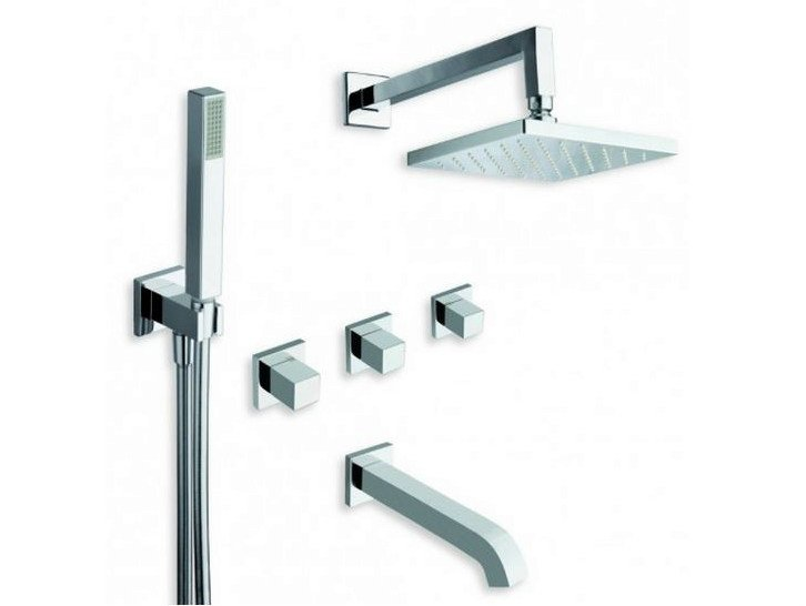 Wall-mounted bathtub tap with hand shower with flexible hose QUADRI | Bathtub tap with overhead shower by CRISTINA