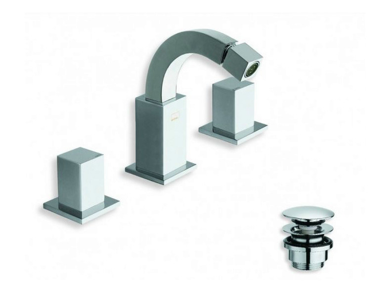 3 hole chrome-plated bidet tap QUADRI | 3 hole bidet tap by CRISTINA