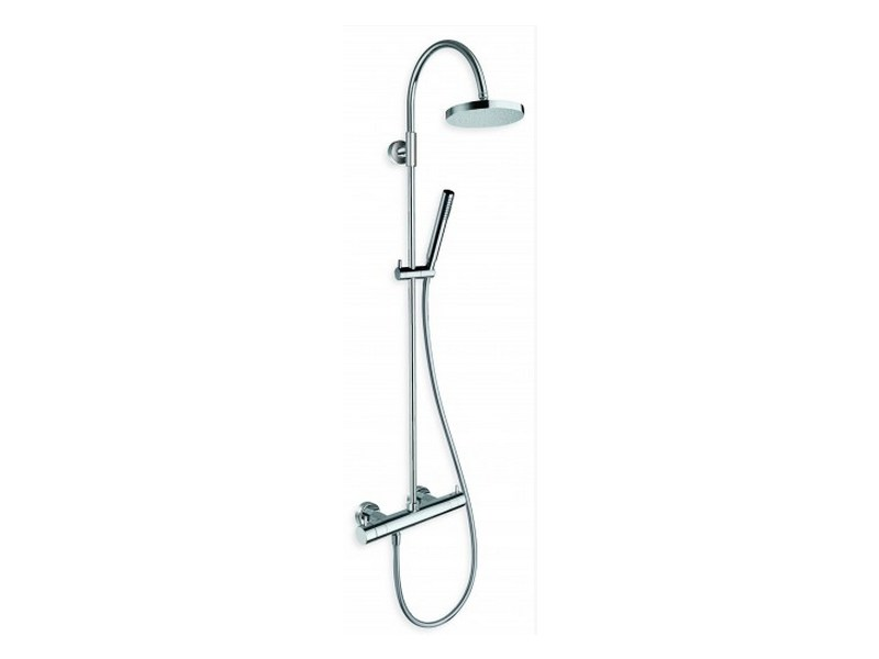 Thermostatic shower panel with hand shower with overhead shower TRICOLORE VERDE | Shower panel by CRISTINA