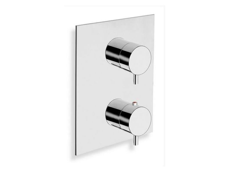 Chrome-plated thermostatic shower mixer TRICOLORE VERDE | Thermostatic shower mixer with plate by CRISTINA