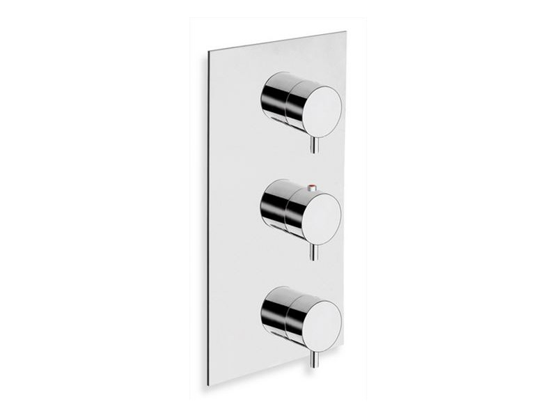Chrome-plated thermostatic shower mixer with plate TRICOLORE VERDE | Thermostatic shower mixer with plate by CRISTINA