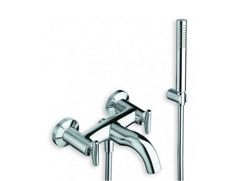 3 hole wall-mounted bathtub tap with hand shower SELTZ | Bathtub tap with hand shower by CRISTINA