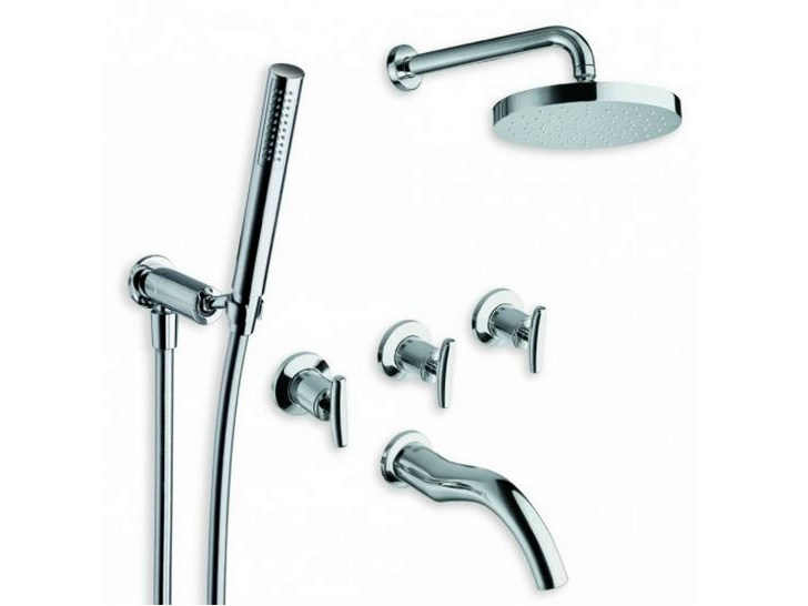 Chrome-plated shower tap with hand shower with overhead shower SELTZ | Shower tap with overhead shower by CRISTINA
