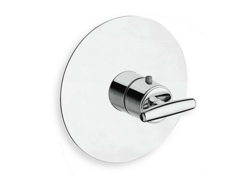 Chrome-plated single handle thermostatic shower mixer with plate SELTZ | Thermostatic shower mixer by CRISTINA