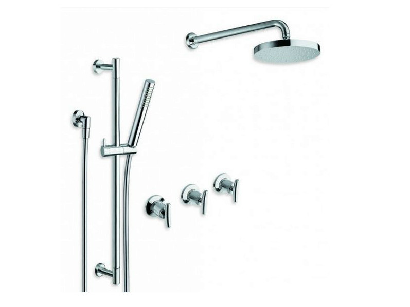 Shower wallbar with hand shower with hose with overhead shower SELTZ | Shower wallbar by CRISTINA