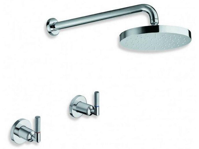 3 hole chrome-plated shower tap with overhead shower PICCHE ELITE   3 hole shower tap by CRISTINA