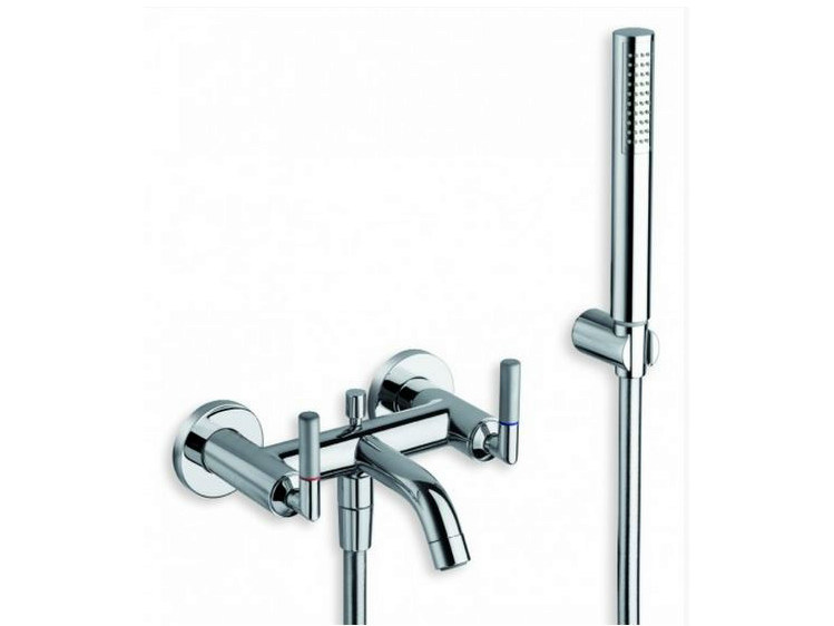3 hole wall-mounted bathtub tap with hand shower PICCHE ELITE | Bathtub tap with hand shower by CRISTINA
