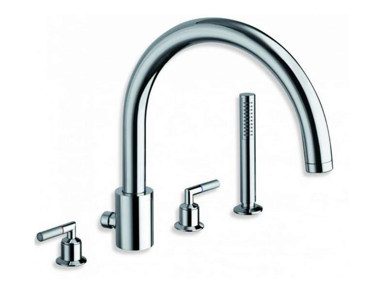 4 hole chrome-plated bathtub set with hand shower PICCHE ELITE | 4 hole bathtub set by CRISTINA