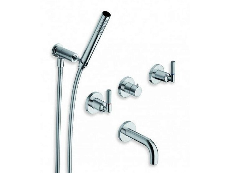 5 hole wall-mounted bathtub tap with hand shower PICCHE ELITE | 5 hole bathtub tap by CRISTINA
