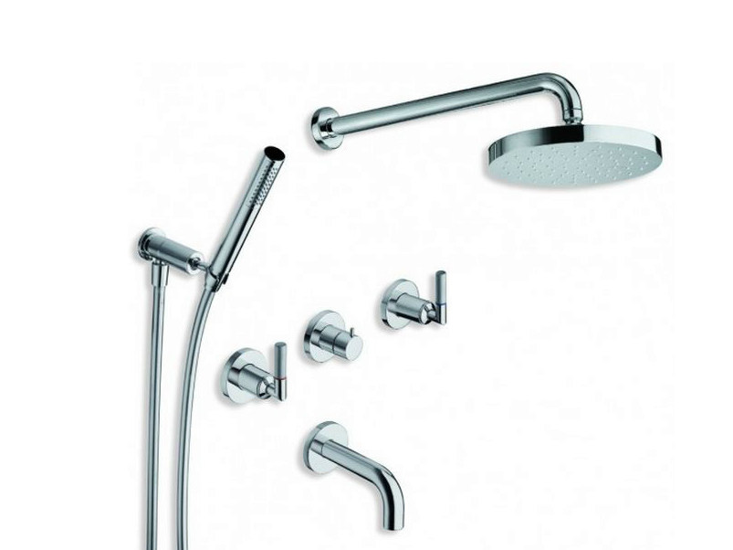 Chrome-plated shower tap with hand shower with overhead shower PICCHE ELITE | Bathtub tap with overhead shower by CRISTINA