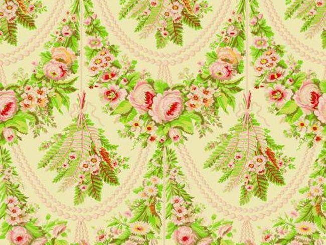 Louis XVI fabric with floral pattern FOUGERES by LELIEVRE