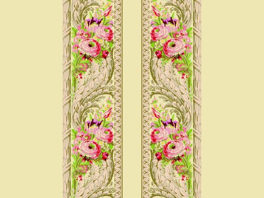 Louis XVI silk wall fabric with floral pattern FOUGERE BORDURE by LELIEVRE