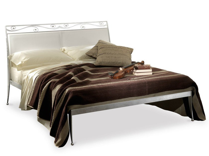 Iron double bed with upholstered headboard CESAR by Cantori