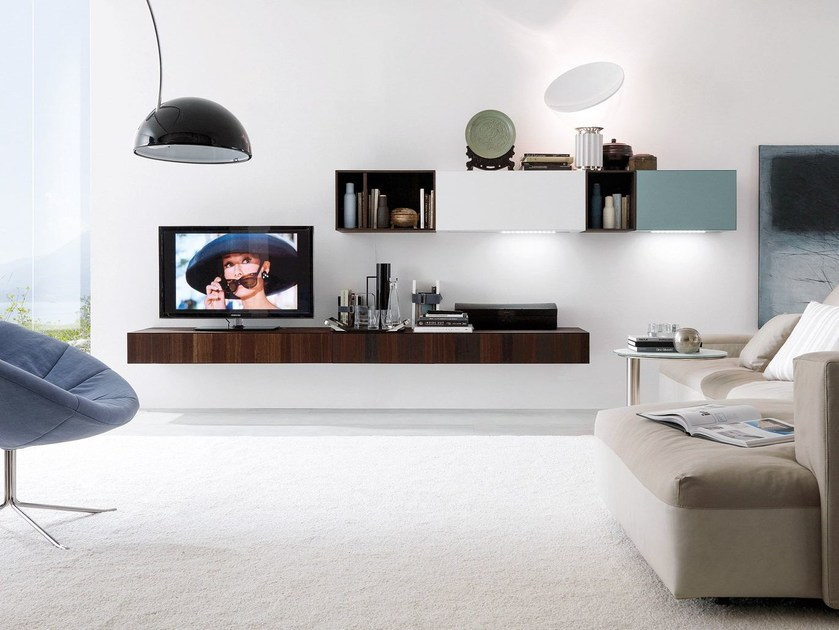 Sectional wall-mounted TV wall system CUBODIECI + e45 by Euromobil