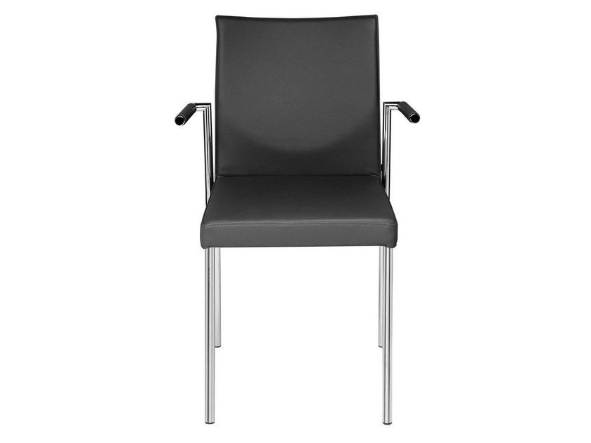 Upholstered leather chair with armrests GLOOH | Chair with armrests by KFF