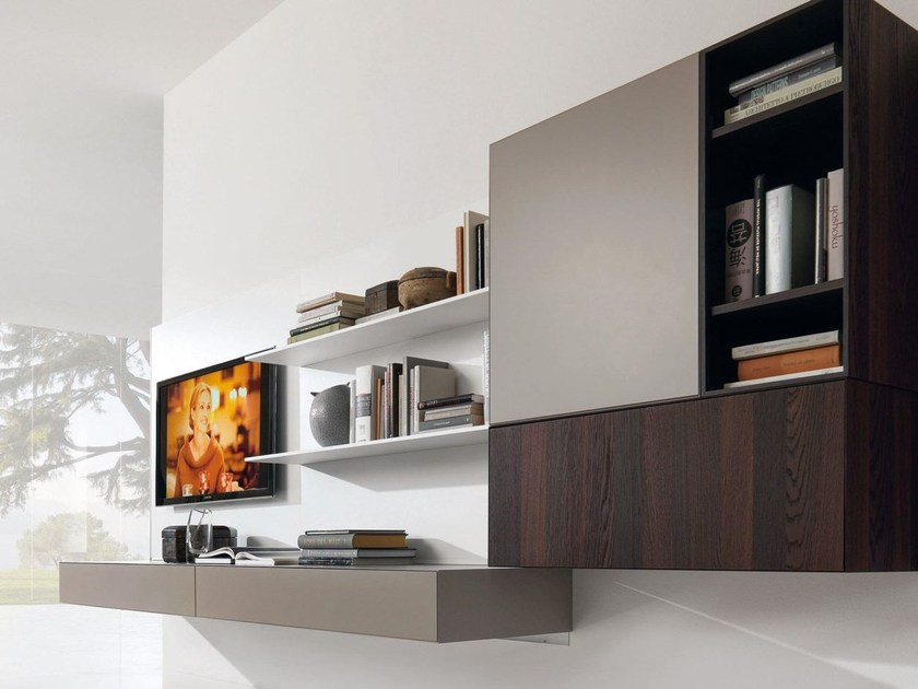 Sectional wall-mounted TV wall system e45 by Euromobil