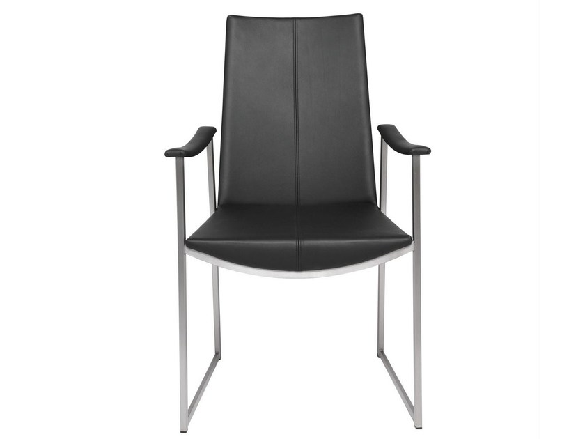 Sled base leather chair with armrests TIBET | Chair with armrests by KFF