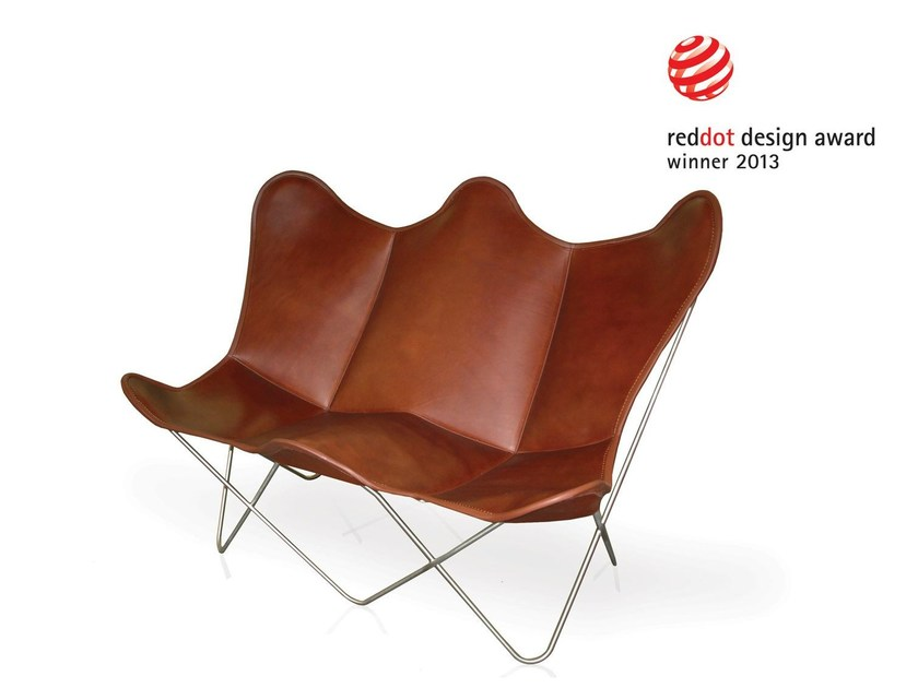 Leather small sofa BUTTERFLY TWIN CHAIR by Weinbaums