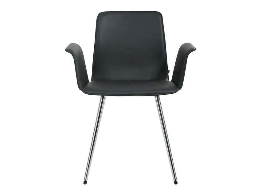 Leather chair with armrests MAVERICK KONUS | Chair with armrests by KFF