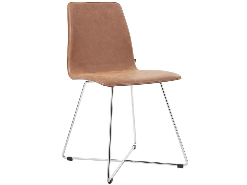 Sled base leather chair MAVERICK | Leather chair by KFF